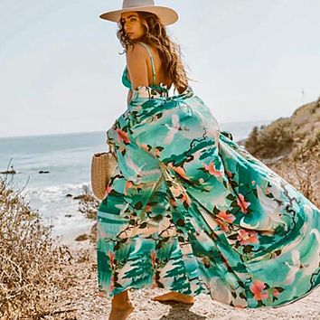 Fitshinling Print Floral Long Cardigan Swimwear Boho Flare Sleeve Sashes Summer Beach Cover Up Swimwear Holiday Big Size Output (Green One Size)