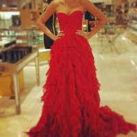 Custom Made Red A line Court Train Prom Dresses, Dresses for Prom, Red Prom Dresses, Evening Dresses, Formal Dresses, Party Dresses
