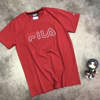 FILA New bust letters print And sleeve print Loose T-shirt top C-AA-XDD Red