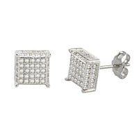 Sterling Silver Micropave Stud Earrings Clear 3d Square 4 Corner Accents 9mm