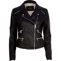 River Island Womens Black leather-look biker jacket