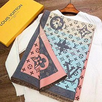 Louis Vuitton LV Ladies Cashmere Scarf Double-sided Jacquard Wool Gradient Fringe Water Wave Shawl