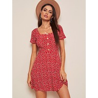 SHEIN Square Neck Button Detail Ditsy Floral Dress
