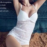 Bra Lace Cup Camisole Set Panties [4919430852]