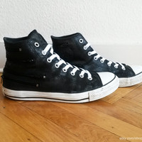 Black leather Converse high tops with zip details, textured leather, new laces. Size UK 8.5 (eu 42, Us men's 8.5, Us women's 10.5) vintage