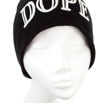 "* Embroidered ""DOPE"" White Letter Beanie In Black"