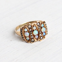 Antique 10K Yellow Rose Gold Victorian Opal & Seed Pearl Ring - Victorian Edwardian Late 1800s Size 7 1/2 Fine Jewelry / Fiery Blue Opals