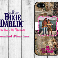 Country iPhone 6 / iPhone 6 Plus / iPhone 5c / iPhone 5/5s / iPhone 4/4s / Custom Fancy Frame Image Case - Hot Pink & Camo (CP3501)
