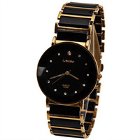 Black and Gold Rhinestone Style Longbo Quartz Watch