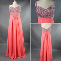 Beach Spaghetti Straps Floor-length Chiffon Beading Sequins Long Bridesmaid/Evening/Party/Homecoming/Prom/Formal Dresses 2013 New Arrival
