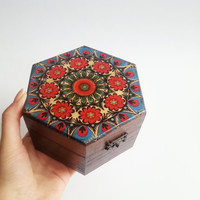Trinket box decoupage folk polish art
