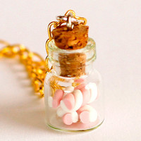 Marshmallow bottle necklace polymer clay kawaii jar cute by Zoozim