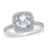 7.0mm Cushion-Cut Lab-Created White Sapphire Ring in Sterling Silver - Size 7
