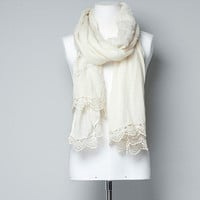 ROMANTIC SCARF WITH SILK/LACE TRIM - Scarves - Accessories - Woman - ZARA United States