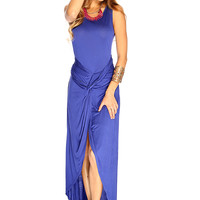 Blue Sleeveless Knotted High Low Sexy Summer Maxi Dress