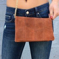 Suede Fold Over Crossbody Handbag In Rust