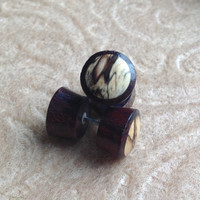 Fake Gauge Earrings, Sono Wood Plugs  with Tamarind Wood Inlay, Naturally Organic, Hand Carved, Tribal