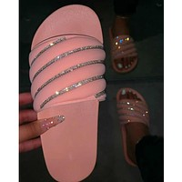 2020 new women's rainbow diagonal diamond sandals and slippers shoes