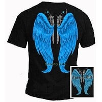 Country Life Outfitters Blue Wings Guns Vintage Unisex Black Bright T Shirt