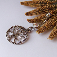Charm Belly Button Ring - Piercing - Curved Barbell - Navel Piercing - Tibetan Silver Tree of Life - LAST ONE