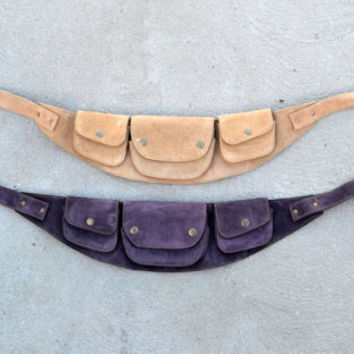 Suede Burning Man utility belt - tan, black