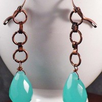 Large Aqua Faceted Chalcedony Briolette and Copper Chain Earrings | BellaSweet - Jewelry on ArtFire
