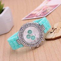Silicone Watches Women Three Eyes Rhinestone Fashion Casual Jelly Clock For Ladies Watch Double Crystal Relegio Feminino Hour