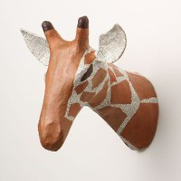 Savannah Story Bust, Giraffe by Anthropologie in Orange Size: One Size Wall Decor