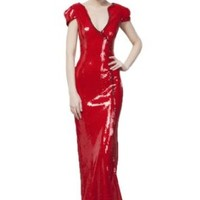 Beautifly Women's Full-length Cut-out Sequin Ball Gown Cocktail Homecoming Dress Red, Size 6