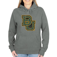 Baylor Bears Ladies Distressed Secondary Pullover Hoodie - Gunmetal