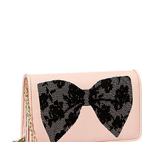 FLOCKED BOWS WALLET ON A STRING