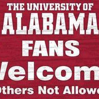 """ALABAMA CRIMSON TIDE FANS WELCOME OTHERS NOT ALLOWED 12""""X6"""" WOOD SIGN NEW"""