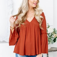 Rust Waffle Textured Bell Sleeve Top