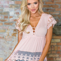 Give Me All Of Your Love Crochet Lace Detailed Top Blush CLEARANCE