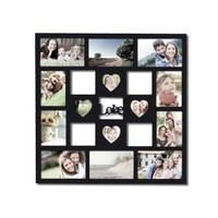 """Adeco Decorative Black Wood """"Love"""" Wall Hanging Collage Picture Photo Frame"""