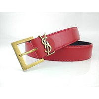 YSL ladies leather Belt new classic gold buckle fashion belt