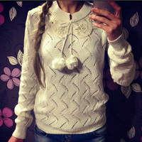 Long Sleeve Round-neck Hollow Out Hot Sale Sweater [8778247942]
