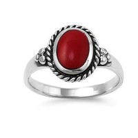 Sterling Silver 12mm Oval Red Enamel Ring - Size 8