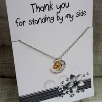 Thank You for Standing by My Side Love you Mom Holiday Gift Woman Mother Jewelry Pendant Necklace