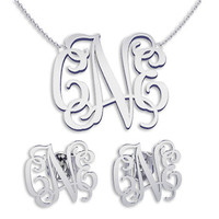 Necklace and Earring sets Silver Monogramm Necklace Monogram Name Jewelry, bridesmaid earrings, bridesmaid necklace