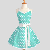 Sweetheart Retro Apron . Sexy  Womens Apron Riley Blake Teal and White Dot Cute Full Kitchen Apron