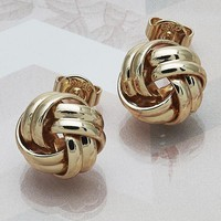 Gold Layered Women Love Knot Stud Earring, by Folks Jewelry