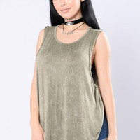 Can't Wait To Get Away Top - Olive