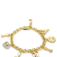 Gold I Love Juicy Charm Bracelet by Juicy Couture, O/S