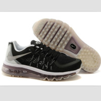 """NIKE"" Trending AirMax Behind the hook section rainbow knited line Fashion Casual Sports Shoes Black silver hook(Light coffee soles)"