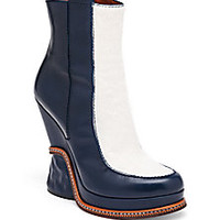 Fendi - Leather & Calf Hair Two-Tone Booties - Saks Fifth Avenue Mobile