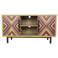 """47'.25"""" X 15'.75"""" X 25'.25"""" Brown MDF Contemporary Wooden Media Console Cabinet"""