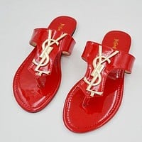 Yves Saint Laurent YSL Women Hot Letter Leisure Flat Sandal Slipper Shoes Red