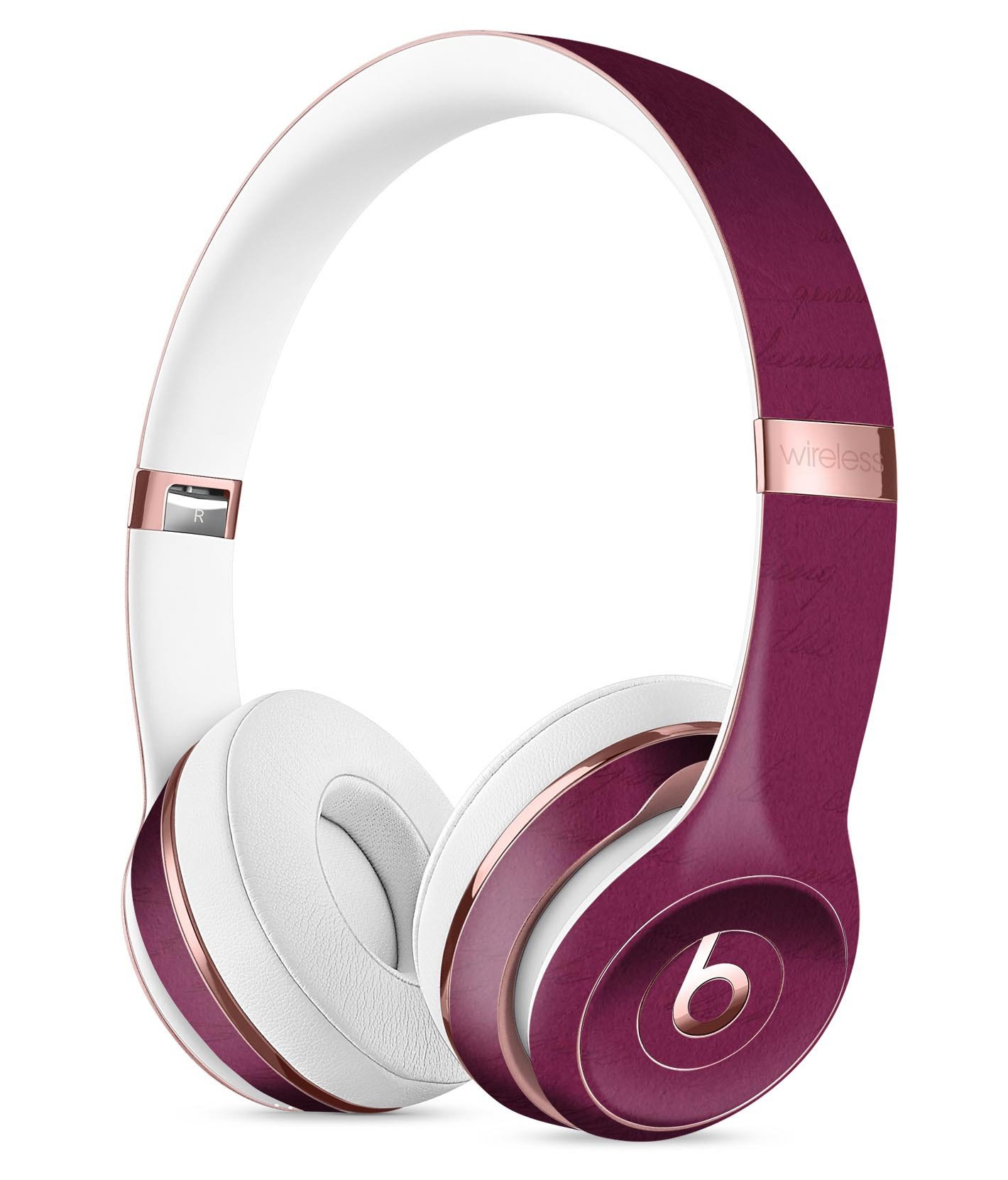 Image of Shades of Burgundy Over Vintage Script Full-Body Skin Kit for the Beats by Dre Solo 3 Wireless Headphones