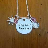 """Sassy Princess Necklace. Rapunzel necklace. """"Long hair don't care"""" necklace. Punzie. Swarovski crystal elements. Perfect for Bounding."""